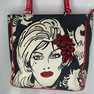 Isabella Fiore Portrait Purse with red beading